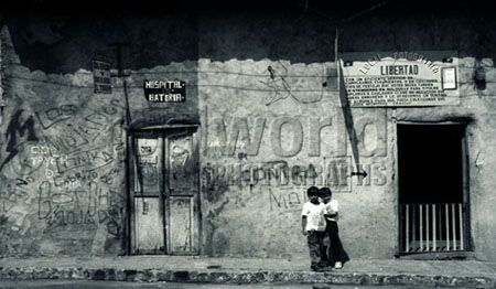 Two boys on a back street in Managua, Nicaragua, Central America.