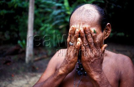 A Peruvian Shaman wipes his face with a plant he collected in the Amazon rain forest, Colombia, South America.